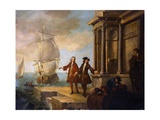 Europe: European Merchants with Stevedores Giclee Print by Jean-Baptiste Oudry
