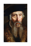 Portrait of a Bearded Man, Bust Length, in a Fur Trimmed Coat and Black Hat Giclee Print by John Bettes the Elder