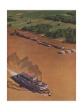 Illustration of Riverboat on Mississippi River Giclee Print