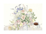 Illustration of a Bouquet and Teacup Giclee Print by Paul Cline