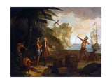 America: a European Merchant Negotiating with Native Americans Giclee Print by Jean-Baptiste Oudry