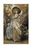 A Lady Walking in a Garden, Standing Full Length and Holding Her Small Child Giclee Print by Thomas Gainsborough