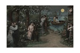 Postcard of Couples on Lover's Lane Giclee Print