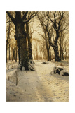 A Wooded Winter Landscape with Deer Giclee Print by Peder Mork Monsted