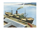 Illustration of Steamship at Port Giclee Print