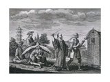 Engraving Depicting Mendicant Priests of China and Punishments for Shameless Priests Giclee Print by Bernard Picart