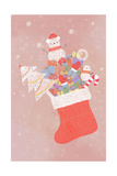Illustration of Stocking Full of Christmas Items Giclee Print