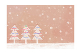 Illustration of Three Christmas Trees in a Row Giclee Print