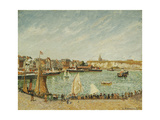 The Afternoon Sun, Outer Port of Dieppe Giclee Print by Camille Pissarro
