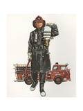 Illustration of Fireman Carrying Hose Giclee Print