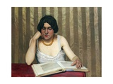 Reader with a Yellow Necklace Giclee Print by Félix Vallotton