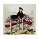Lady Negotiates a Gate Hand-Colored Print Giclee Print by W.H.J. Carter