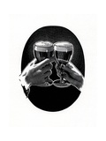 Two Hands Clinking Glasses of Beer Giclee Print
