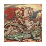 Saint George and the Dragon Illustration Giclee Print