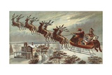 Book Illustration of Reindeer Pulling Santa's Sled Giclee Print