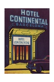 Hotel Continental Barcelona Luggage Label Giclee Print