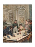 Illustration of Napoleon and Josephine Reviewing Model of their Coronation Giclee Print by Jacques Onfroy de Breville