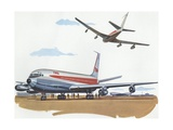 Illustration of Airplanes at Airport Giclee Print