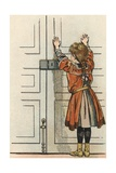 Illustration of a Child by a Door by Jacques Onfroy De Breville Giclee Print by Jacques Onfroy de Breville