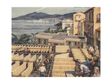 Illustration of Macaroni Drying in Italy Giclee Print by Norman Howard