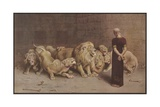 Illustration of Daniel in the Lions' Den Giclee Print