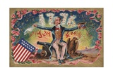 Fourth of July Postcard with Uncle Sam Giclee Print