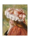 Head of a Young Girl in a Red Hat Giclee Print by Pierre-Auguste Renoir
