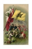 Postcard of Revolutionaries Fighting at Bunker Hill under Don't Tread on Me Flag Giclee Print
