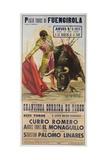 1968 Spanish Bullfight Poster Plaza De Toros De Fuengirola Impression giclée
