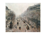 Boulevard Montmartre on a Sunny Foggy Morning Giclee Print by Camille Pissarro