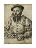 Portrait of a Bearded Man, Half Length, Seated at a Table Giclee Print by Tobias Stimmer