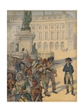 Illustration of Napoleon Standing Up to a Revolutionary Mob Giclee Print by Jacques Onfroy de Breville