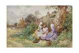 Children Reading Beside a Country Lane Giclee Print by Myles Birket Foster