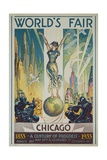 1933 Chicago Centennial World's Fair Poster Reproduction procédé giclée