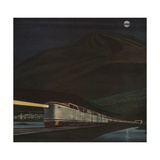 Illustration of Train at Night Giclee Print