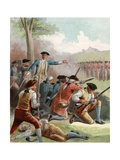 Illustration of George Washington and Soldiers Attacking Redcoats on their Return to Boston Giclee Print