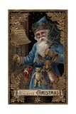 A Merry Christmas Postcard with Santa Ringing Bell Giclee Print