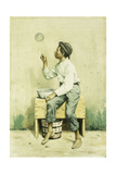 Black Boy Blowing Bubbles Giclee Print by George Harvey
