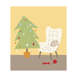 A Cat on a Chair Next to a Christmas Tree Giclee Print