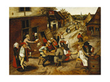 Peasants Merrymaking Outside the Swan Inn in a Village Street Giclee Print by Pieter Brueghel the Younger