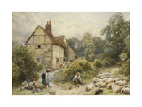 Fowl House Farm, Witley, with Children, a Shepherd and a Flock of Sheep Nearby Reproduction procédé giclée par Myles Birket Foster
