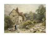 Fowl House Farm, Witley, with Children, a Shepherd and a Flock of Sheep Nearby Gicléedruk van Myles Birket Foster