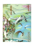 Illustration of Airplane Flying over San Francisco Bay Giclee Print by C.H. Dewitt