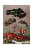Illustration of Various Shellfish Giclee Print