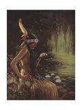 Illustration of an Indian Maiden Holding a Water Lily Giclee Print by Adelaide Hiebel