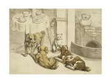 Morning Engraving of Pets Assembled Beside a Breakfast Table Giclee Print