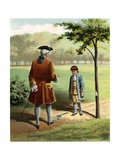 Illustration of George Washington as a Boy after Chopping Down the Cherry Tree Giclee Print