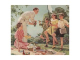 Illustration of Family at a Picnic Giclee Print by Douglass Crockwell