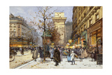 Figures on Le Boulevard St. Denis at Twilight Giclee Print by Eugene Galien-Laloue