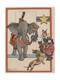 Illustration of an Elephant and Circus Performers Giclee Print by Constance White